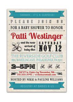 {Patti} Baby Shower Invitation. Vintage Retro Baby Shower. Retro Wedding Invitation.   http://www.etsy.com/listing/84260413/baby-shower-invitation-vintage-retro