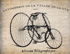 Antique French Bicycle Shop Paris Illustration Digital Download for Tea Towels, Papercrafts, Transfer, Pillows, etc Burlap No 6383. $1.00, via Etsy.