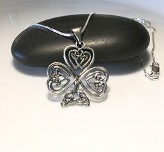 Shamrock Necklace Sterling Silver Shamrock Pendant Large