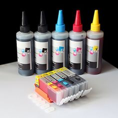 iE Brand - Set of Refillable Ink Cartridges and an Extra Set of High Quality Refill Ink Bottles(100ml per color, total 500ml) for Canon PGI-250 CLI-251 PIXMA MG5420 MG5422 MG5520 MG5522 MG6420 MX722 MX922 iP7720 iX6820 Shopsmart188 http://www.amazon.com/dp/B00QW7PL0E/ref=cm_sw_r_pi_dp_0WN5vb1BW0P49