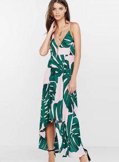 7cef92317a V Neck Backless Printed Maxi Irregular Dress - OASAP.com