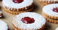 Linzer cookies: jam-filled, vanilla-almond wafer cookies with a hint of lemon. Linzer Tart, Wafer Cookies, Galletas Cookies, Sugar Cookies Recipe, Cookie Recipes, Candy Recipes, Baking Recipes, Jam Cookies, Flour Recipes