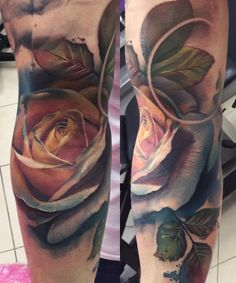 Progress from a recent collaboration and I are working on, started thanks to for helping me with my supplies that weekend! Rose Tattoos, Tattoo Artists, Ink, Photo And Video, Floral, Instagram Posts, Collaboration, Color, Elves