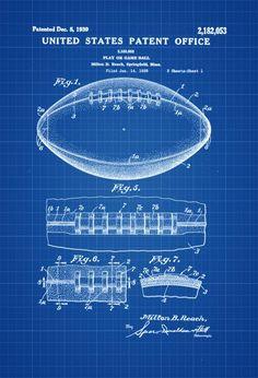 Brooklyn bridge blueprint vintage new york brooklyn bridge football ball patent patent print wall decor football art sports art malvernweather Images