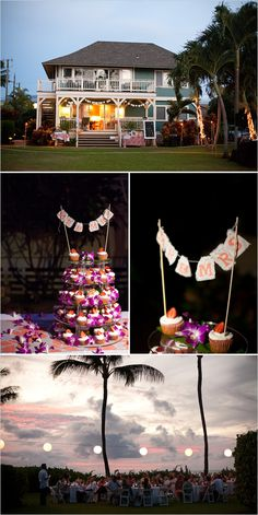 Cupcake Tower with Orchids and/or Plumeria, MRS & MRS sign up top, hanging lights around the pool
