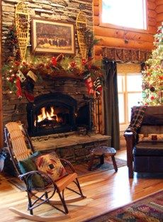 **Mantle Idea for Our Stone Fireplace** from Our Favorite Holiday Ideas From Rate My Space : Home Improvement : DIY Network Log Cabin Christmas, Christmas Fireplace Mantels, Country Christmas, Brick Fireplace, Christmas Stocking, Christmas Christmas, Christmas Lights, Stone Fireplaces, Xmas