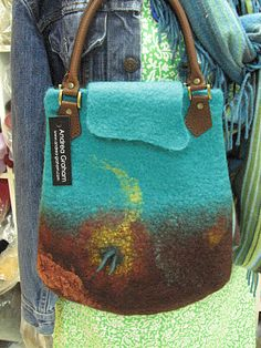 Wool felt with leather handles by Andrea Graham, from Ontario.