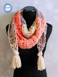 This modern andstylish scarf will take you from winter to spring! Wear it as a warm scarf or a light shoulder wrap. Made with one skein of Caron Cakes or your favorite worsted weight yarn. I hope you enjoy my newest free crochet pattern: the Strawberry Patch Convertible Scarf.