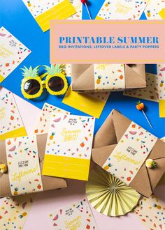 If you want to make your first summer party extra special, look no further! These printable invitations, leftover labels, and party poppers will give any gathering the pizzazz it deserves! Diy Father's Day Gifts, Diy Holiday Gifts, Craft Party, Diy Party, Party Ideas, Printable Invitations, Party Invitations, Printables, Summer Party Decorations