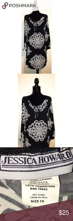 """Jessica Howard BLACK/WHITE LONG SLEEVE WITH TIES BOHO LOOK BUST= 20""""                                                             LENGHTH= 36 1/2""""                                                 WAIST= 19"""" ARM LENGHTH= 22""""                                                  ✅Prices are negotiable ✅Please be considerate due to Posh fees.  ✅No holds/No Trades  ✅Please use offer button  ✅No 🅿️🅿️ Jessica Howard Dresses"""