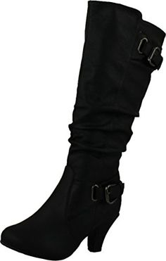c63dec452b Top Moda Womens Knee High Buckle Slouched Kitten Heel Boots, Black Made in  USA or Imported Shaft measures approximately 16 from arch Platform measures  ...