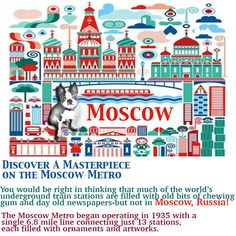 """Dolce says, """"ALL ABOARD!"""" There are now 194 stations on the Moscow Metro🚇, and more than nine million people use it everyday. Young adventures will feel like royalty as they hop from one station to the next, marveling at the colorful mosaics, marbled walls, chandeliers, and gold fixtures. #dailydolcediary #travelguide #kidstravelguide #russia"""
