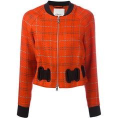 3.1 Phillip Lim Plaid bomber jacket (£860) ❤ liked on Polyvore featuring outerwear, jackets, red, orange jacket, red jacket, plaid jacket, bomber style jacket and red plaid jacket
