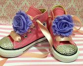 TANGLED INSPIRED SHOES - Rapunzel inspired shoes - Princess Birthday Party - Swarovski Crystals - Pink Converse shoes- Sizes 2-13