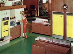Hotpoint calendar image for March 1960. Love the duel refrigerators or one a fridge one a freezer?.