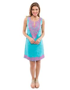 sleeveless cela dress - turquoise and pink
