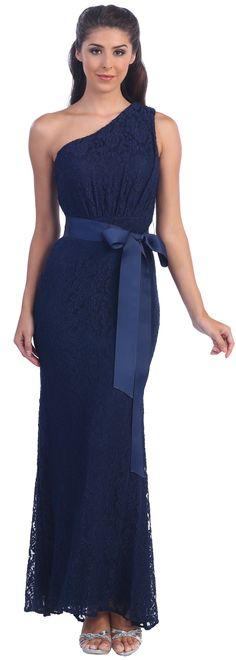 Evening Dresses<BR>Bridesmaids Dresses under $100<BR>945<BR>One shoulder Lace Dress and flared hemline!