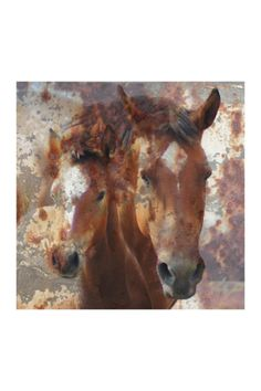 Horse and Foal Hand Embellished Gallery Wrapped Canvas Wall