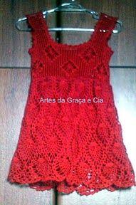 Graça Tricô e Crochê: Vestido em crochê para bebes