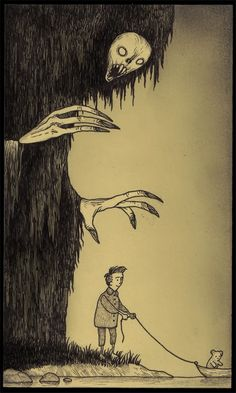 Illustration by John Kenn aka Don Kenn | Illustation | Ilustração | Sketchbook | Sketch | Drawing | Draw | Creepy | Scary | Kid |