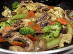 Veggie Stir Fry from Food.com: Made with ingredients I usually have on hand. This is what I make to clean out my fridge, so the veggies are different each time, but I love this version. This can easily be made vegetarian by substituting vegetable broth.