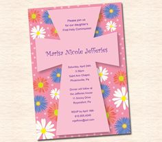 Flowers, First Communion Invitations, Baptism Invitations, Christening Invitations. $10.00, via Etsy.