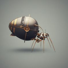 Robot bugs will surely live around us in the near future. Unfortunately, judging by what we are seeing so far, they are not going to look anywhere as cool as these retro-futuristic designs by Andrew Serkin.