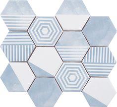 Malla Panal Hexagon Mix Azul 23,2*26,4,