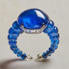 One of a kind sapphire ring with unheated Burma sapphires, by Viren Bhagat.