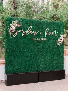 See more of Jordan Bagsic and Kimbal Leonardo's outdoor wedding with soft colors at Rancho Las Lomas in California, planned by Weddings by Susan Dunne! Flower Wall Wedding, Wedding Wall, Wedding Signs, Our Wedding, Dream Wedding, Wedding Reception, Wedding Aisles, Wedding Ceremonies, Luxury Wedding