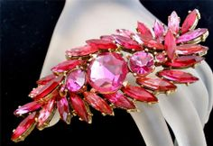 Vintage Pink Rivoli Rhinestone Brooch High End Layered Navettes Gold Pin Jewelry Fall Jewelry, Summer Jewelry, Women's Jewelry, Chanel Jewelry, Jewellery, Fashion Jewelry, Premier Designs, Cartier, Antique Jewelry