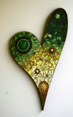 stained glass heart mosaics Add it to your favorites to revisit it later. Mosaic Diy, Mosaic Garden, Mosaic Crafts, Mosaic Projects, Mosaic Rocks, Mosaic Glass, Glass Wall Art, Stained Glass Art, Mosaic Designs