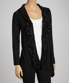 Take a look at this Black Sequin Shirttail Cardigan by Panitti on #zulily today!