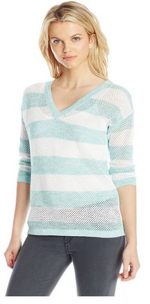 such a cute sweater to layer with a cami to match. Makes a great accent! Stripe Mesh V-Neck Pull-Over Sweater