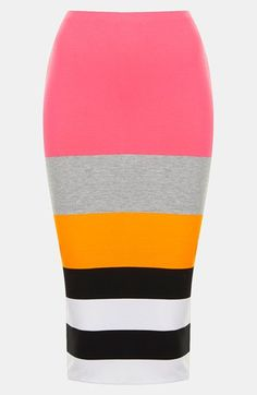 Topshop Fluorescent Color Block Tube Skirt available at #Nordstrom