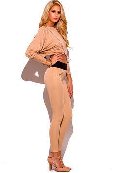 Cute cheap khaki beige banded waist paneled fitted high waisted skinny pants