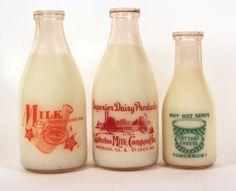 Waterloo Milk Company Glass Milk Bottles, - The Antique Advertising Expert Old Milk Bottles, Old Milk Jugs, Vintage Milk Bottles, Milk Cans, Drink Bottles, Milk Companies, Old Fashioned Drink, Vintage Milk Can, Grape Juice