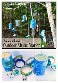 DIY Musical Kids Outdoor Play Area from My Nearest and Dearest at B-InspiredMama.com Use PVC pipe to create a frame and then tie all instruments to it.