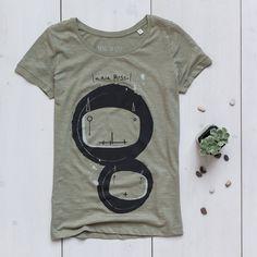 Women's Printed T-shirt organic slub cotton light khaki slub Bugs Ariarosso
