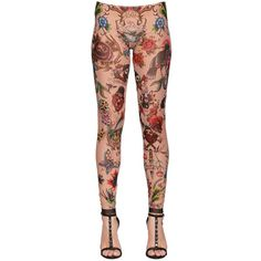 Dsquared2 Women Tattoo Printed Stretch Tulle Leggings (254 CAD) ❤ liked on Polyvore featuring pants, leggings, multicolor, sheer pants, stretch waist pants, all over print leggings, multi colored leggings and stretchy pants