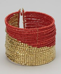 Take a look at this Red & Gold Seed Bead Cuff Bracelet by All The Rage on #zulily today!