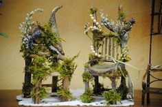 Fairy garden furniture made from twigs and vintage jewelry pieces.