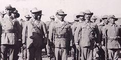Soldaten der 'Baster-Kompagnie', die an der Seite der Schutztruppe gegen Nama und Herero kämpfte.  Quelle: Nationalarchiv