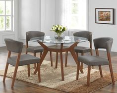Legacy Dining Round Set , dining set Round with walnut leg, tempered glass dining set, taupe seats, faux leather chairs, legacy furniture, cork furniture, dublin furniture, irish furniture.