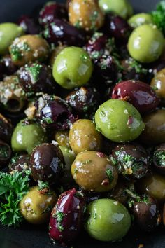 This easy Marinated Olives appetizer recipe is full of delicious Mediterranean flavor. Fresh herbs, spices, garlic and olive oil combine to create a savory low carb snack perfect for cheese platters and charcuterie boards. Olive Marinade Recipe, Brine Recipe, Marinated Black Olives Recipe, Olive Recipes Appetizers, Meat Cheese Platters, Pickled Olives, Garlic Recipes, Mediterranean Diet Recipes, No Calorie Foods