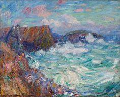 John Peter Russell (1858-1930), Coucher de Soleil sur Morestil. Inscribed '100/80 coucher Soleil sur MORESTIL / 38' on the stretcher oil on hessian. 31 ¾ x 39 1/2 in.
