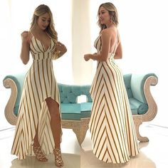 Summer dress – great use of stripes Backless Maxi Dresses, Sexy Dresses, Cute Dresses, Dress Outfits, Fashion Dresses, Classy Outfits, Trendy Outfits, Cute Outfits, Long Summer Dresses