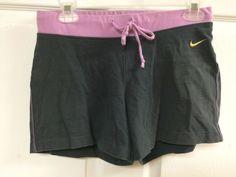 Nike Gray & Purple Drawstring Waist Cotton Athletic Workout Shorts Sz Small 4-6 #Nike #Shorts