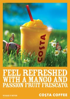 Costa Coffee - Point Of Sale Costa Coffee, Branding, Coffee Advertising, Mango, Passion, Activities, Marketing, Feelings, Fruit