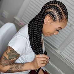 African Braids Hairstyles 825918019147157025 - Definitive guide to top braided hairstyles for women featuring conrows, tribal braids, lemonade braids & goddess locs including cost, duration and type of hair used. Braided Cornrow Hairstyles, Feed In Braids Hairstyles, Black Girl Braided Hairstyles, African Hairstyles, Wig Hairstyles, Carrot Hairstyles, Nigerian Braids Hairstyles, Small Feed In Braids, Large Box Braids